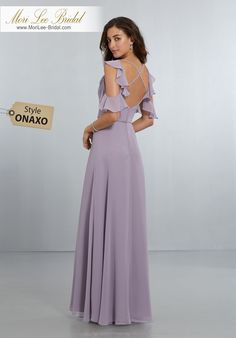 Style ONAXO   Chiffon Bridesmaids Dress with Flounced Sleeve Detail and Criss Cross Back  Sophisticated, A-Line Chiffon Gown with Stylish, Flounced, Cold-Shoulder Detail and Criss-Cross Back Straps with Zipper Back. View Chiffon Swatch Card for Color Options. Shown in French Lilac.