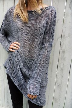 Alpaca Oversized women sweater. Chunky knit sweater. Slouchy