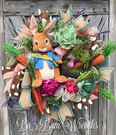 Peter Rabbit Wreath, Easter Wreath, Spring Wreath, Spring Decor, Spring Door, Bunny Wreath, Bunny Swag, Bunny Decor, Easter Wreath, Easter Swag, Easter Decor Peter Rabbit Spring Greeting Made on a wired base and filled with lush greens & dainty florals that dance about as swirly