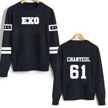 2016 New arrival EXO harajuku hoodies casal roupa preta carta impressão plus size moletons esporte trajes camisola ocasional