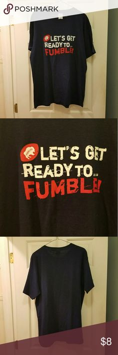 Funny Football Short Sleeve Tee Shirt Fun navy blue short sleeve t shirt! Has a football on it and says 'Let's get ready to fumble!' Graphics are in red and white. Brand new without tags! Feel free to ask any questions!  All my items come from a smoke free but dog and cat friendly home. Jerzees Shirts Tees - Short Sleeve