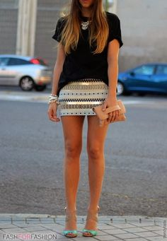 skirt and black t-shirt