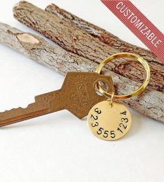 Custom Phone Number Stamped Brass Key Ring | Women's Bags & Accessories