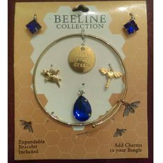 """Live Your Dream Bracelet Kit Alex and Ani Style Bracelet Kit. Includes One Adjustable Gold Tone Bangle, Three Blue Jewel Charms, One Flying Pig Charm, One Flying Heart Key Charm, and One """"Live Your Dream"""" Charm. Jewelry Bracelets"""