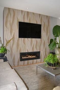 Contemporary Living Room with 3d wall panel, Carpet