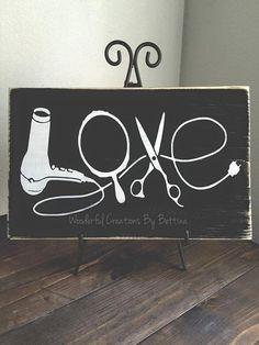 Panneau en bois rustique, amour, coiffeur, panneau en bois, Décor de mur rustique, bois signe, don de cheveux de styliste, styliste