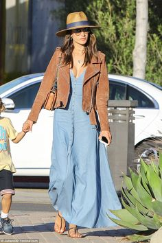 Breezy: A light blue maxi dress and flat sandals were perfect for the California climate...