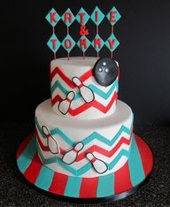 bowling cake, chevron