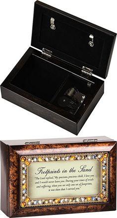 Footprints Jeweled Dark Wood Finish Jewelry Music Box - Plays Tune On Eagles Wings