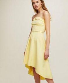 Womens Scuba Dip Back Bandeau Dress, Yellow