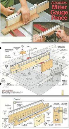 Adjustable Miter Gauge Fence Plans - Table Saw Tips, Jigs and Fixtures | WoodArchivist.com