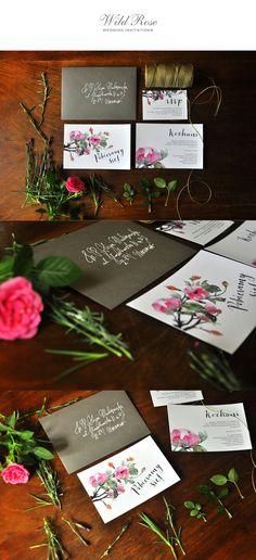 zaproszenia ślubne z motywem dzikiej róży od Love Prints