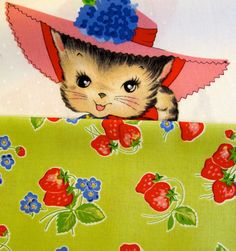 Pam Kitty Green Strawberries - 1 Yard for 9.75 - PamKittyMorning Fabric. $9.75, via Etsy.