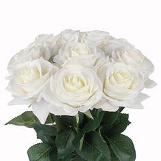 JAROWN 10 pcs Artificial Roses Real Touch Flowers Moistur...