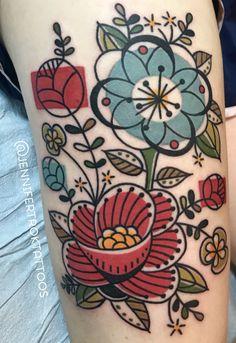 Jen Trok mid-century floral tattoo