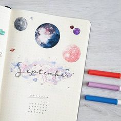 1,118 vind-ik-leuks, 29 reacties - JOOS   Bullet Journal (@bu.joos) op Instagram: 'S E P T E M B E R // monthly Going for a galaxy theme this month! I really enjoyed making this �'