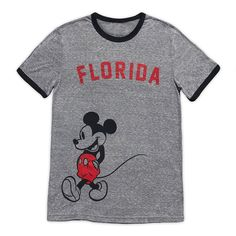 Mickey Mouse hits the streets of his hometown for this vintage-look ringer tee direct from ''The City of the Angels,'' Los Angeles, California. Toy Story Figures, New Mickey Mouse, Search Trends, Popular Kids Toys, State Of Florida, Ringer Tee, Block Lettering, Disney Style, Toys For Girls