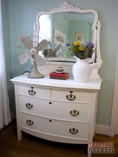 painted dresser - get this look with Chalk Paint™ decorative paint by Annie Sloan in either Old White, or Pure.