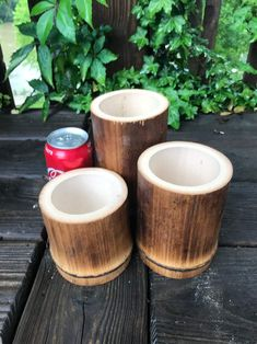 "Bamboo Poles-Lot of (3) Giant Flamed Bamboo Pole Containers (4"" diam. x 4""-5""-6"" length) This is a set of Bamboo Poles-Lot of (3) Giant Flamed Bamboo Pole Containers (4"" diam. x 4""-5""-6"" length). These pieces have the end node intact, so they have a variety of uses from small planters to pencil holders. Your imagination is the limit. These Bamboo Poles-Lot of (3) Giant Flamed Bamboo Pole Containers (4"" diam. x 4""-5""-6"" length) come from a 30 year old Bamboo grove with over 30 different… Bamboo Garden Fences, Bamboo Privacy Fence, Bamboo Furniture, Garden Furniture, Bamboo Wedding Arch, Bamboo Landscape, Spa Interior Design, Bamboo Light, Zen Garden Design"