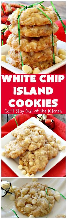 White Chip Island Cookies Lovely tropical island flare with these tasty sugar cookies. These ones include white vanilla chips, coconut, and roasted macadamia nuts. Great for holiday baking or tailgating. Cookie Brownie Bars, Cookie Desserts, Cookie Recipes, Dessert Recipes, Yummy Cookies, Holiday Cookies, Holiday Baking, Christmas Baking, Christmas Treats