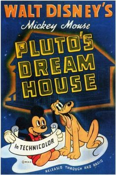 """Pluto's Dream House"" Mickey Mouse 1940 Disney Cartoon short movie poster"