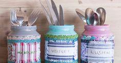 Tavalliset lasipurkit muuttuvat koristelemalla kauniiksi aterinpurkeiksi. Katso Unelmien Talo&Kodin helppo ohje.