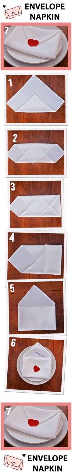 How to fold a napkin into an envelope. Perfect for Valentine's Day, an anniversary, birthday and more!