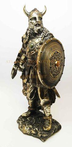 "NORSE MYTHOLOGY PAGANISM GOD VIKING BERSERKER WARRIOR 13.5""H STATUE FIGURINE"