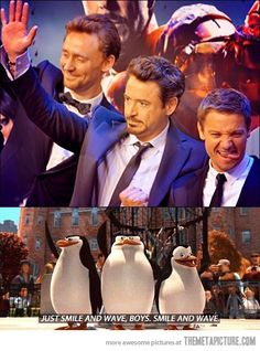 Smile and wave boys, OMG - Hiddleston, Robert Downey Jr, and Jeremy Reinner