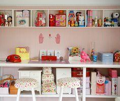 built in storage, display pretty toys, dollhouse etc...