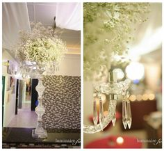Amazing baby's breath statement pieces by Botanicals on the Gulf at the Grace Ormonde book signing at Salon Tease in Naples, FL. Photo by Luminaire Foto.