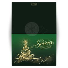 ​Best green and gold season's greetings christmas card with tree of lights, stars and ribbons.