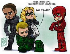 Diggle, Oliver, Laurel and Barry by Lord Mesa art