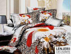 Compre Leopard Print Duvet Cover - Super ofertas em Leopard Print Duvet Cover no AliExpress Leopard Bedding, Floral Bedding, Linen Bedding, King Size Bedding Sets, Cheap Bedding Sets, Comforter Sets, Queen Bed Linen, Queen Beds, Love Your Home