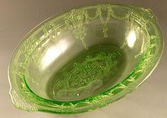 Cameo Oval Vegetable Bowl Green Depression Glass Hocking Ballerina Dancing Girl | eBay