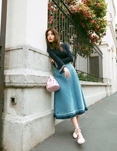 Black Knit Top with Maong Skirt Fashion of Afterschool Nana