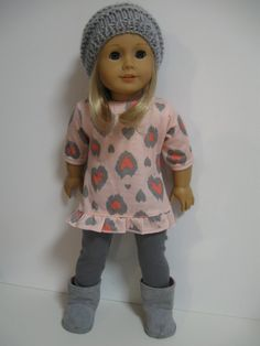 American Girl Doll Clothes Grey Heart by 123MULBERRYSTREET on Etsy, $26.00