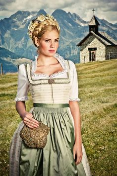 Lena Hoschek - tradition wedding Dirndl by Oktoberfest Outfit, Little Dresses, Girls Dresses, Dirndl Dress, Beer Girl, German Women, Elegant, Traditional Dresses, Costume Design