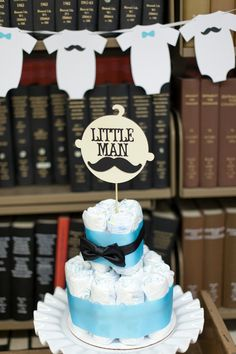 Little Man Baby Shower Centerpiece Diaper Cake 2 tiers with bow tie. via Etsy.