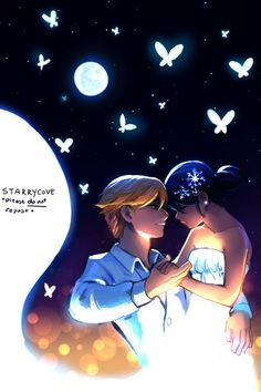 Dancing among white butterflies~ (Miraculous Ladybug, Adrien, Marinette, Adrinette, Starrycove)