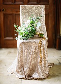 Use glittery chair covers for your wedding reception | Brides.com