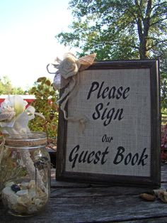 Burlap Wedding Guest Book Sign Rustic by TwiningVines on Etsy, $30.00 www.hawaiianweddings.net #Etsy #Guestbook #Weddings #Rusticwedding #Vintagewedding #Welcometable #Weddingsigns