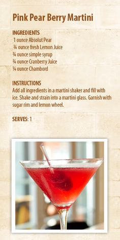 Pink Pear Berry Martini
