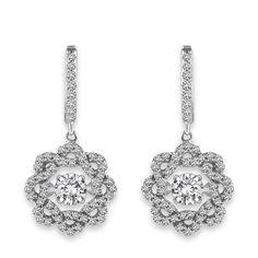 14 kt. white gold 1.00 ct. t.w. Dancing Diamond Earrings