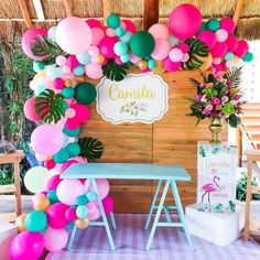 Let's go to the flamingos party! Flamingo Party, Flamingo Birthday, Luau Birthday, First Birthday Parties, First Birthdays, Flamingo Baby Shower, Hawaiian Birthday, Happy Birthday, Aloha Party