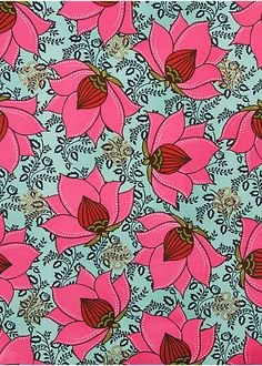 Lotus Flower Wrapping PaperThe Lotus Flower pattern is part of our exclusive India Collection, inspired by the textiles and rich design traditions of India. In bright fuchsia with hints of metallic gold, this print is a tribute to the bright lotus bloom, reminiscent of embroidered medallions found on fine Indian fabrics. We love this pattern for its hand-drawn quality that evokes the feel of a block print. Great as wrapping paper, decorative accents, an invitation embellishment, or as art…
