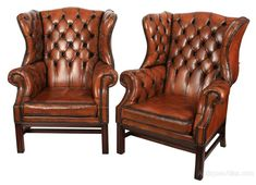 Pair Of Large Leather Chesterfield Wing Chairs - Antiques Atlas Chesterfield Armchair, Leather Chesterfield, Leather Recliner, Wingback Chair, Antique Chairs, Antique Furniture, Leather Armchairs, Wing Chairs, Recliners