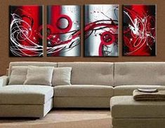 4 piece canvas painting, heavy texture canvas painting, wall art for living room. Canvas art for bedroom. 84 inch canvas painting, abstract art painting for sale. Oil painting on canvas. Extra Large Wall Art, Large Wall Paintings, Hand Painting Art, Red Abstract Painting, Modern Abstract Wall Art, Abstract Wall Art, Modern Art For Sale, Canvas Painting, Large Canvas Painting