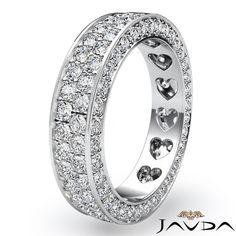 2 Row Womens Wedding Band Pave Diamond Heart Eternity 18k White Gold Ring 2Ct
