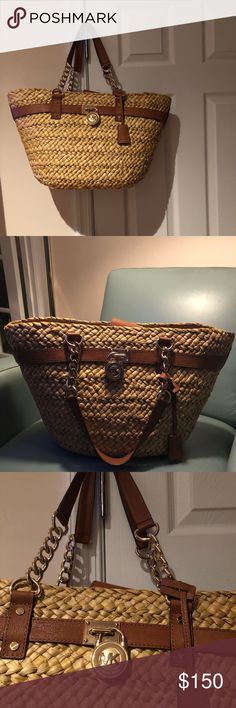 Micheal Kors Large Straw Bag Michael Kors Large Straw Bag Tan leather and chain Straps Gold Hardware w/magnetic closure Never worn/pristine condition/like new Michael Kors Bags Totes Gold Hardware, Tan Leather, Michael Kors Bag, Straw Bag, Totes, Closure, Chain, Bags, Things To Sell